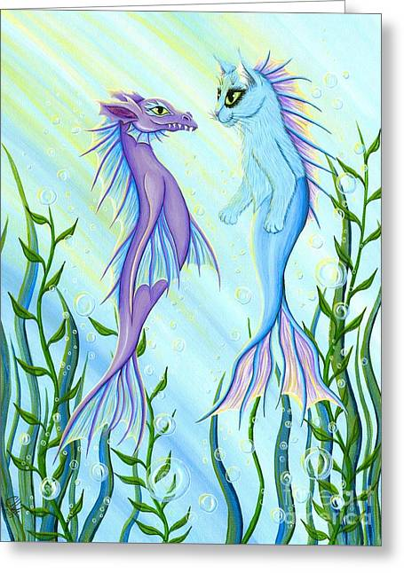 Sunrise Swim - Sea Dragon Mermaid Cat Greeting Card