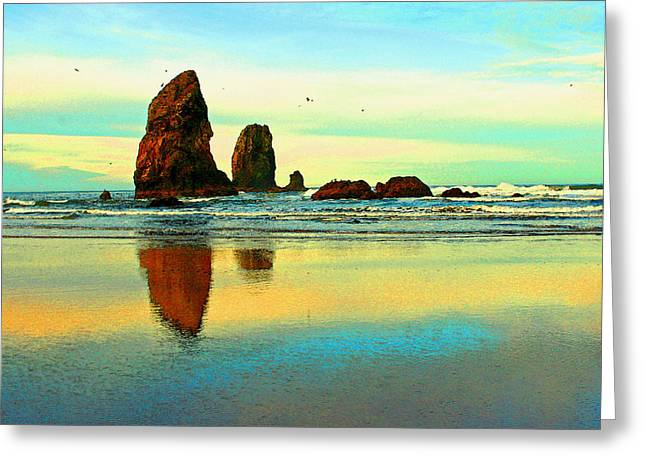 Sunrise  The Needles At Cannon Beach Greeting Card by Margaret Hood