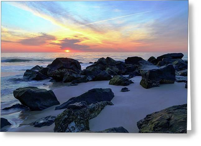 Sunrise Through The Rocks Greeting Card