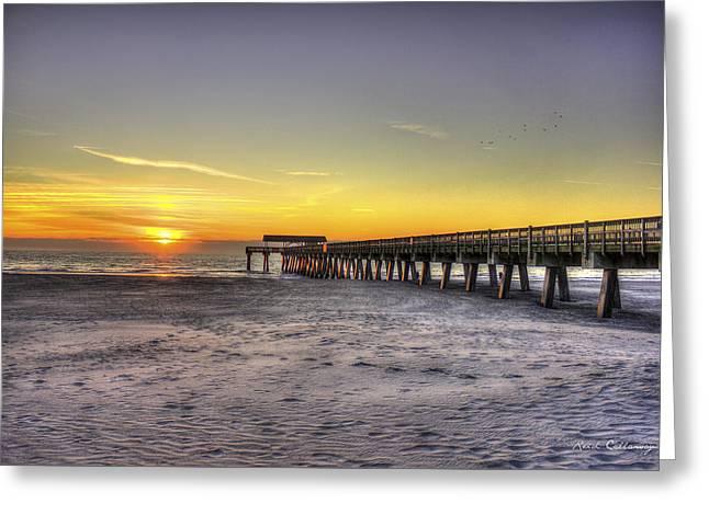 Sunrise Tybee Island Pier Greeting Card by Reid Callaway