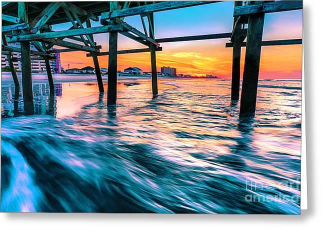 Sunrise Under Cherry Grove Pier Greeting Card