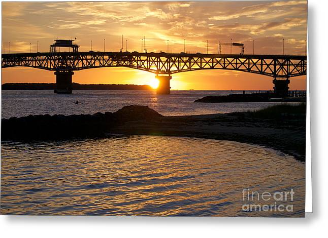 Sunrise Under Coleman Bridge Greeting Card