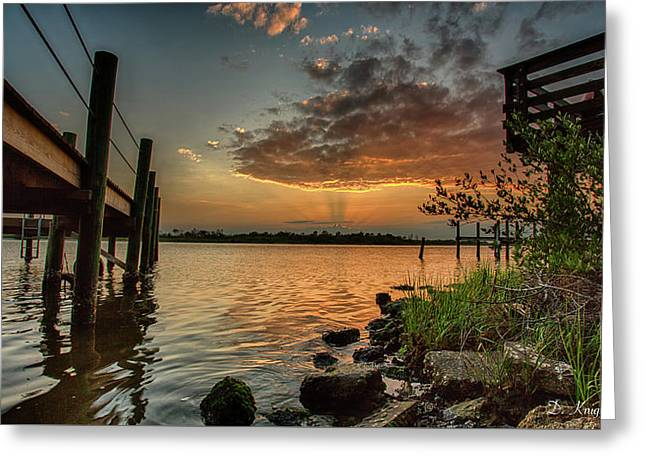 Sunrise Under The Dock Greeting Card