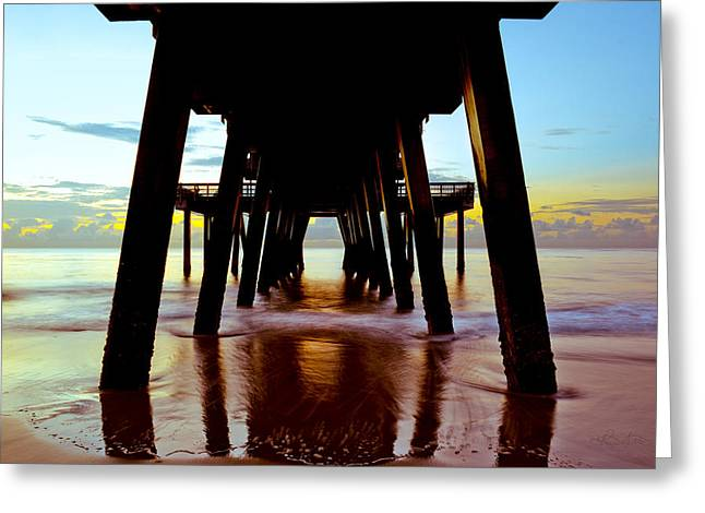 Ocean. Reflection Greeting Cards - Sunrise Under Tybees Pier Greeting Card by Renee Sullivan