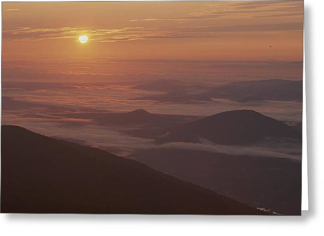 Middle Atlantic States Greeting Cards - Sunrise View Of The Adirondacks Greeting Card by Michael Melford