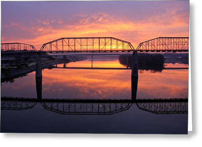 Tennessee River Greeting Cards - Sunrise Walnut Street Bridge 2 Greeting Card by Tom and Pat Cory
