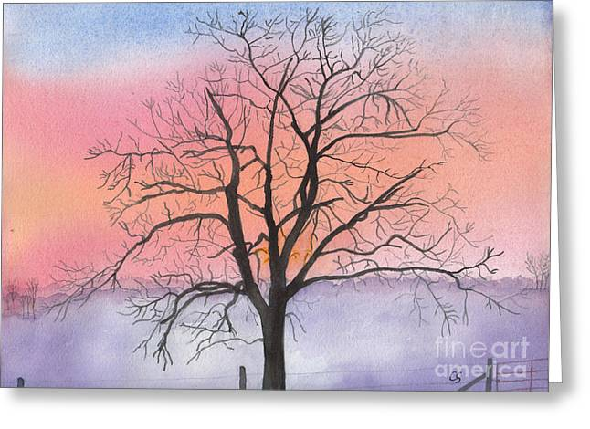 Sunrise Walnut Tree 2 Watercolor Painting Greeting Card
