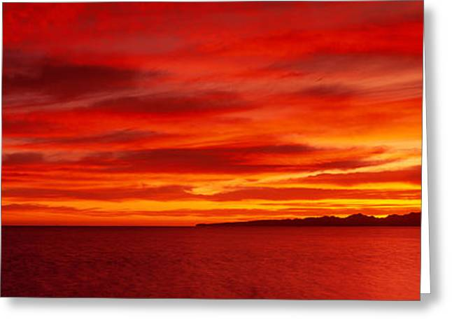Sunrise, Water, Mulege, Baja Greeting Card by Panoramic Images