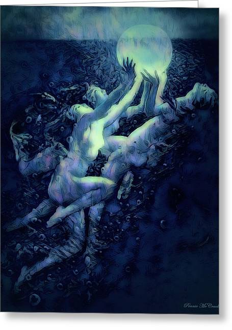 Greeting Card featuring the digital art Sunrise Water Nymphs by Pennie McCracken