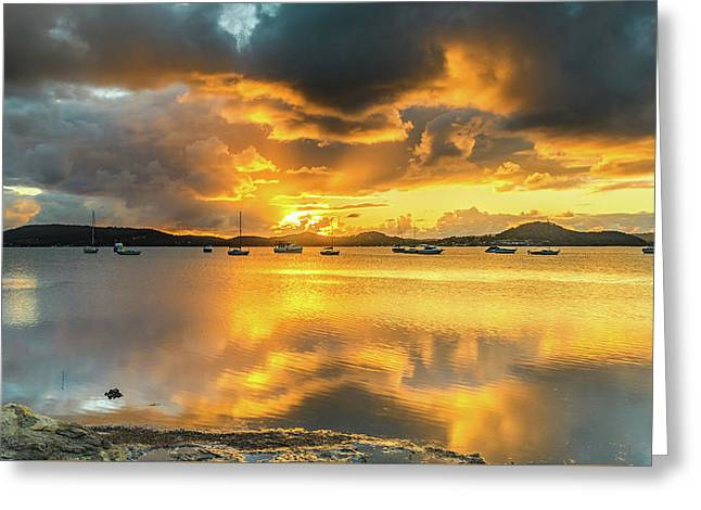 Sunrise Waterscape With Reflections Greeting Card