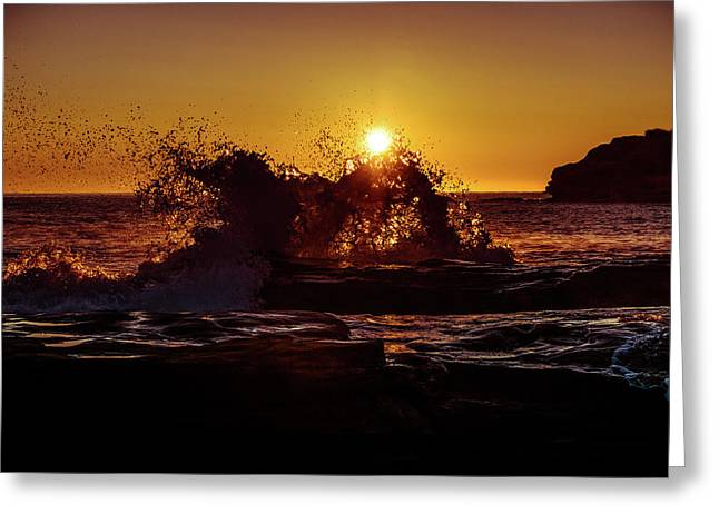 Greeting Card featuring the photograph Sunrise Waves Crash  by Chris Bordeleau