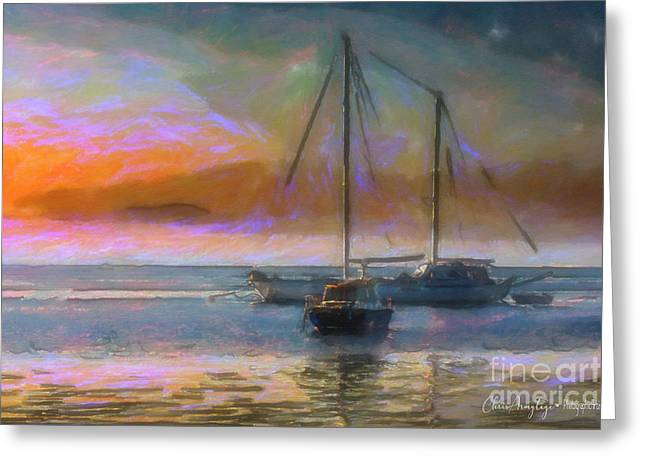 Sunrise With Boats Greeting Card