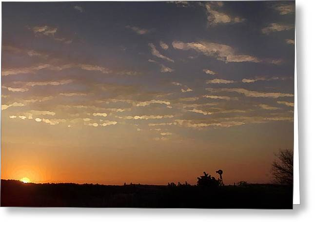 Sunrise With Windmill Greeting Card