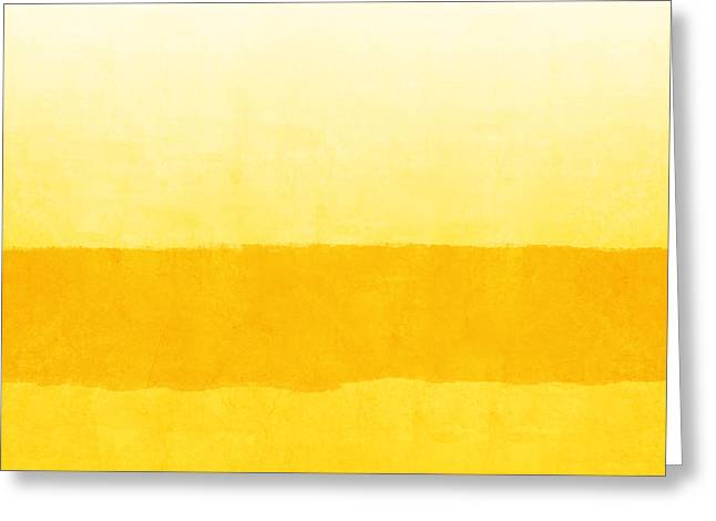 Sunrise- Yellow Abstract Art By Linda Woods Greeting Card by Linda Woods