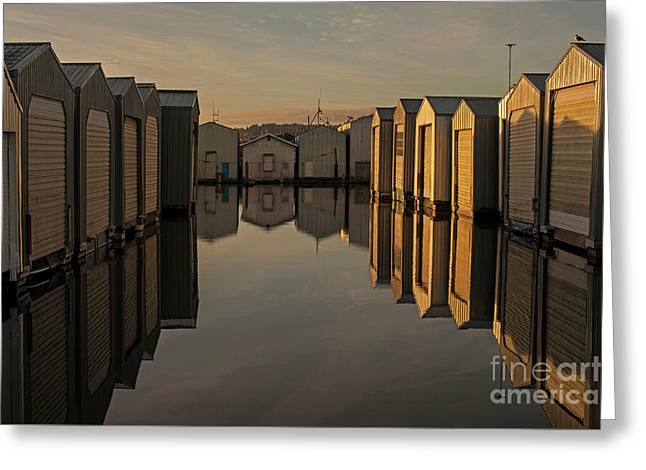 sunriseBoathouses in Rows  Greeting Card by Jim Corwin