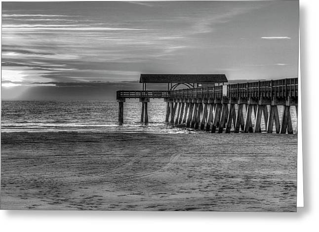 Greeting Card featuring the photograph Suns Up Tybee Pier Bw Tybee Island Georgia Art by Reid Callaway