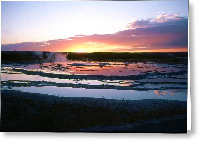 Sunset - Great Fountain Geyser Greeting Card by John Foote