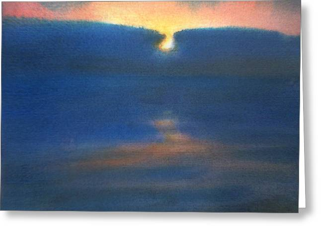 Greeting Card featuring the painting Sunset 1 by Valeriy Mavlo