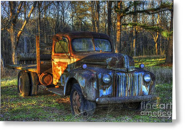 Sunset 1947 Ford Stakebed Pickup Truck Art Greeting Card by Reid Callaway