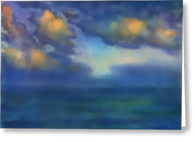 Greeting Card featuring the painting Sunset 2 by Valeriy Mavlo