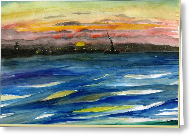 Sunset 29 San Diego Harbor Greeting Card