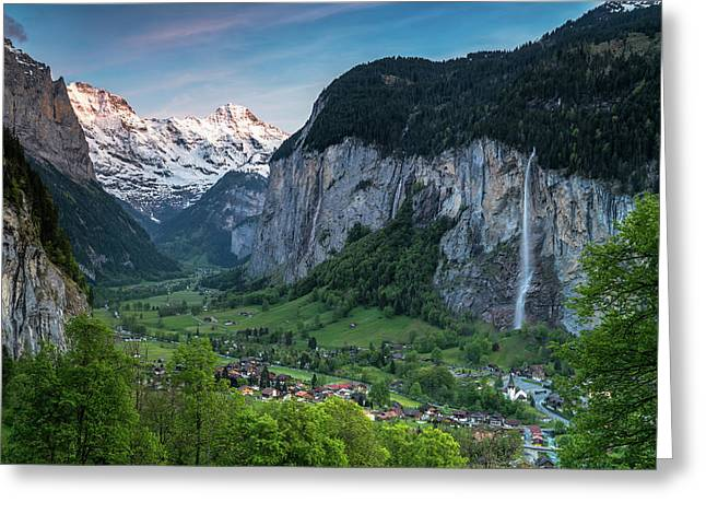 Sunset Above The Lauterbrunnen Valley Greeting Card