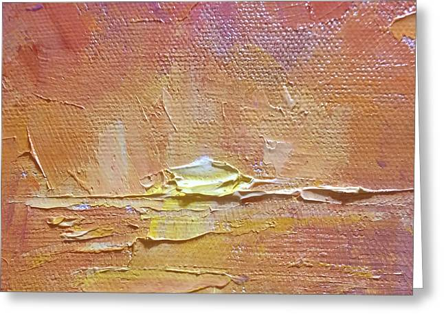 Sunset - Abstract Sun Setting Over The Ocean Greeting Card by Karen Whitworth
