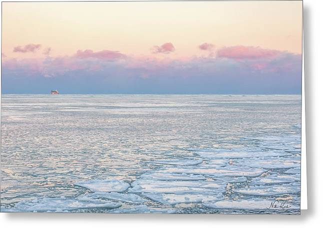 Sunset Across The Frozen Lake Greeting Card