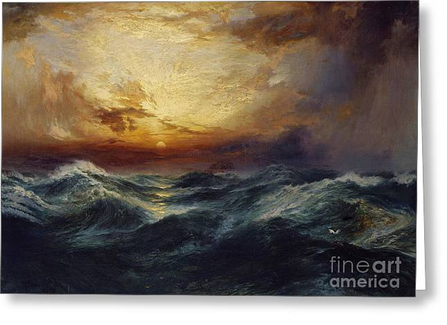 Rough Paintings Greeting Cards - Sunset After a Storm Greeting Card by Thomas Moran