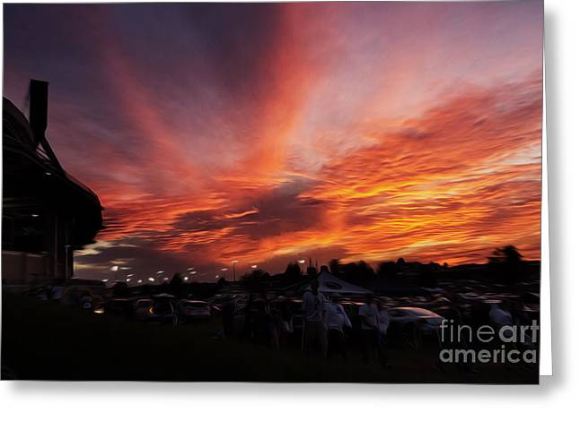 Sunset After The Game  Greeting Card by Tom Gari Gallery-Three-Photography