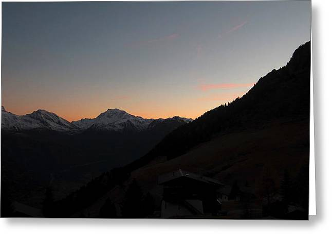 Sunset Afterglow In The Mountains Greeting Card
