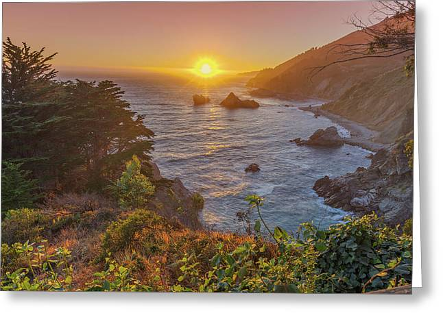 Sunset Along Highway 1 Big Sur California Greeting Card