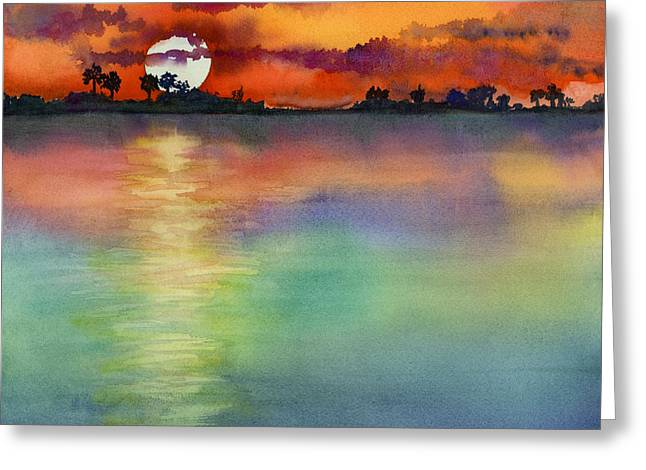 Sunset Greeting Card by Amy Kirkpatrick