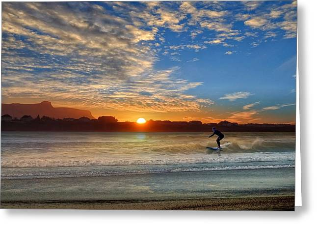 Sunset And A Surfer At Bundoran Greeting Card