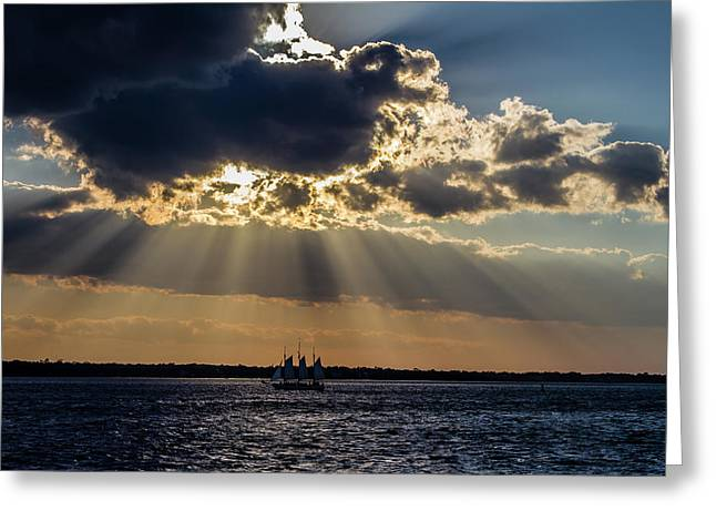 Sunset And A Three Masted Schooner Greeting Card