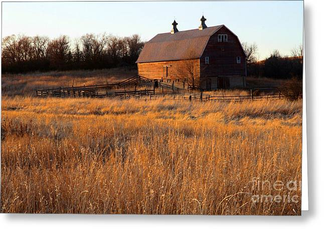 Sunset And Barn Greeting Card by Edward R Wisell