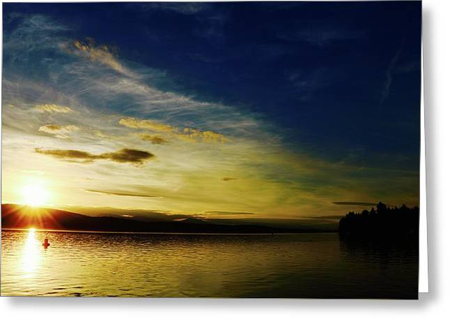 Sunset And Buoy Over Vancouver Island Greeting Card