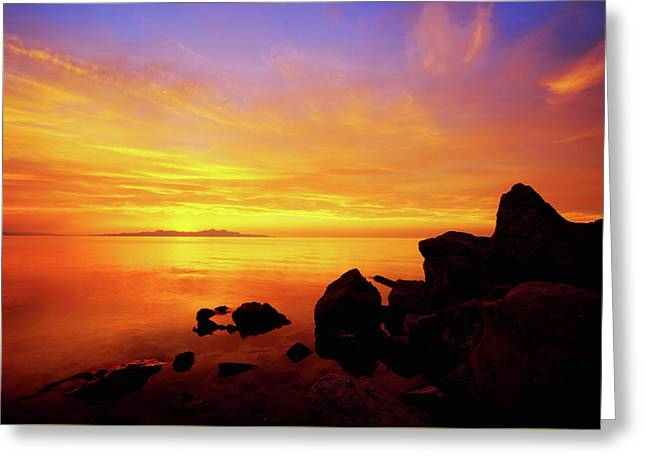 Sunset And Fire Greeting Card