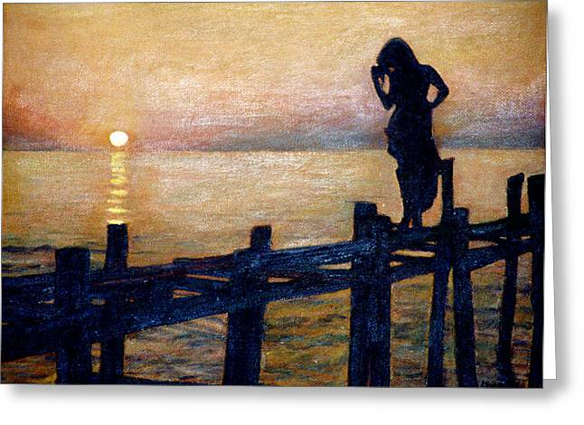 Sunset And Girl Greeting Card