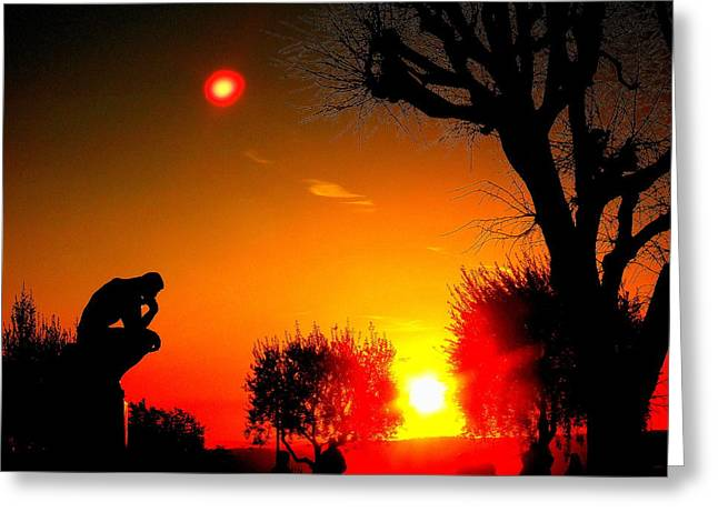 Sunset And Moon In France Greeting Card