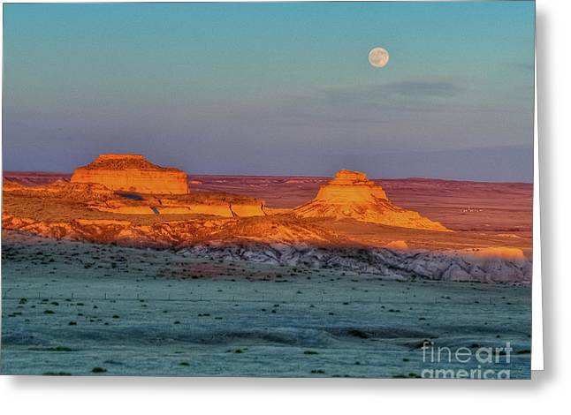 Sunset And Moon-rise Over Pawnee Buttes Greeting Card