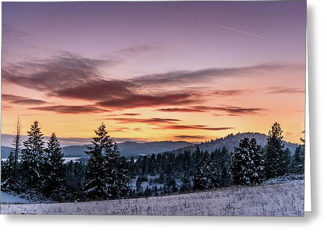Sunset And Mountains Greeting Card