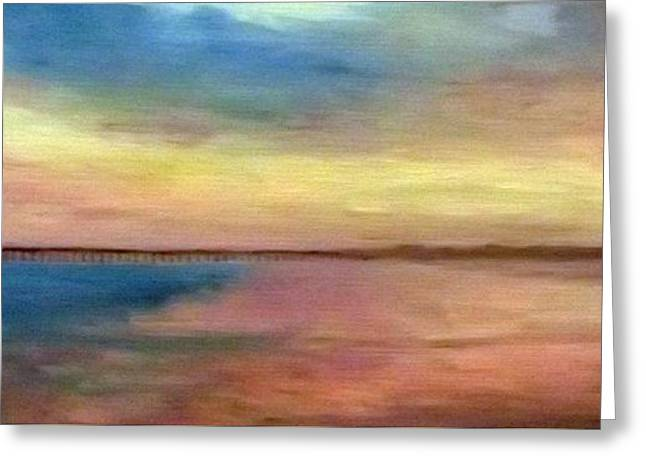 Sunset And Pier Greeting Card