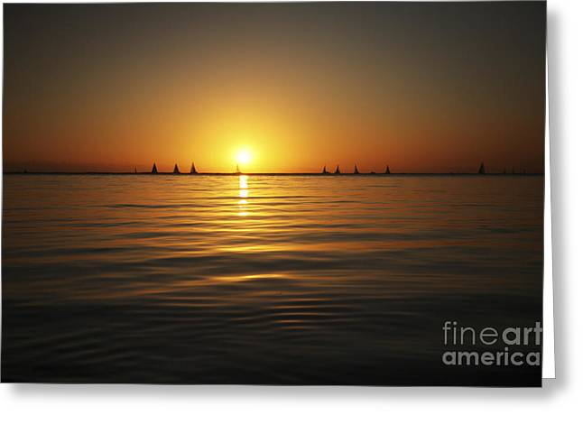 Sunset And Sailboats Greeting Card by Brandon Tabiolo - Printscapes