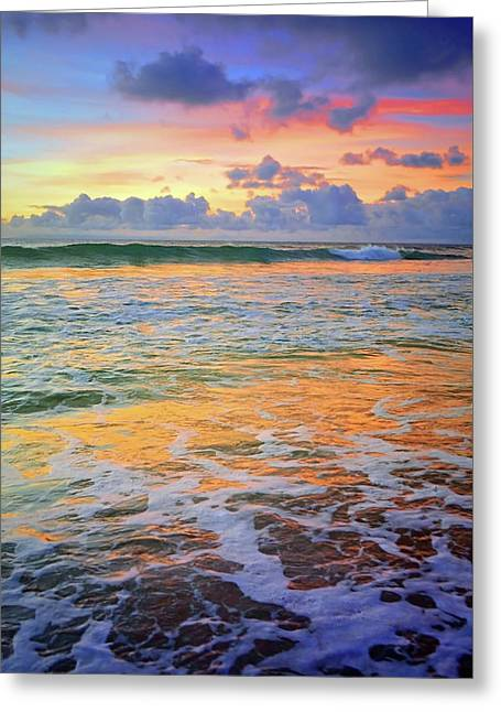 Greeting Card featuring the photograph Sunset And Sea Foam by Tara Turner