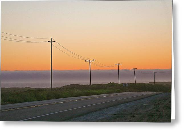 Sunset And Telephone Wires Greeting Card by Liz Santie