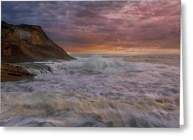 Sunset And Waves At Cape Kiwanda Greeting Card by David Gn
