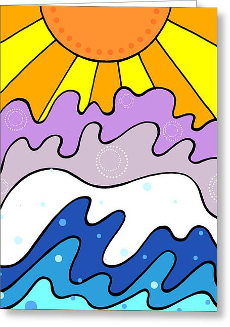 Sunset And Waves Greeting Card by Jayme Kinsey