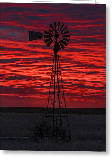 Greeting Card featuring the photograph Sunset And Windmill 02 by Rob Graham