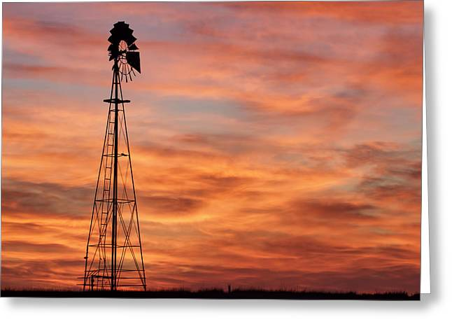 Sunset And Windmill 04 Greeting Card